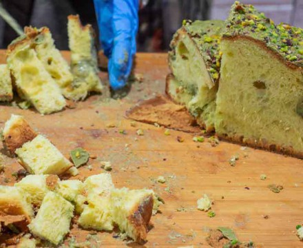Panettone, the typical Christmas cake of Milan, filled with pistachio cream